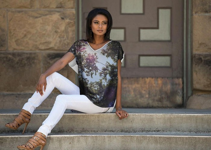 Flowing dolman style top with light forest print. Teresa Neal Photographer